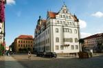 Lutherstadt Wittenberg: Historisches Rathaus; Nordseite und Stadtbach; tagsüber