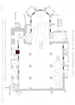 Grundriss der ehemaligen St. Johanniskirche um 1780 mit der Rekonstruktion der Lage der Kirchenfenster für die Denkmalanlage. Abb. des Kirchengrundrisses aus Mues, Siegfried: (2) Sachbericht zur Geschichte der Sarkopharge aus dem Haus Reuss-Gera. S. 168